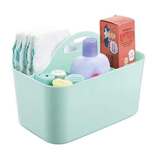 mDesign Plastic Nursery Storage Caddy Tote, Divided Bin with Handle for Child/Kids - Holds Bottles, Spoons, Bibs, Pacifiers, Diapers, Wipes, Baby Lotion - BPA Free, Small - Mint Green ()