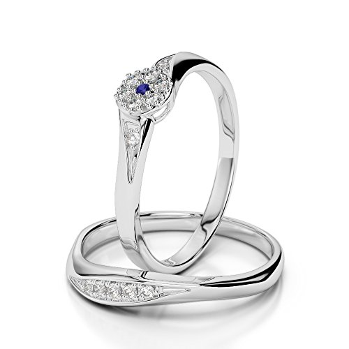 G-H/VS 0,10 ct Coupe ronde sertie de diamants Saphir et diamants blancs et bague de fiançailles en platine 950 Agdr-1057