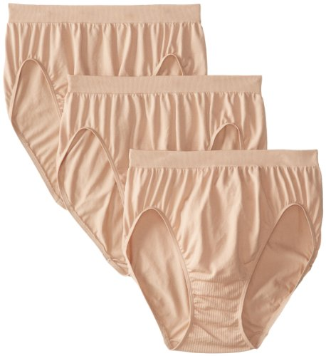 Bali Women's 3 Pack Comfort Revolution Hi-Cut Panty, Nude, - Brief High Nylon Cut Panties