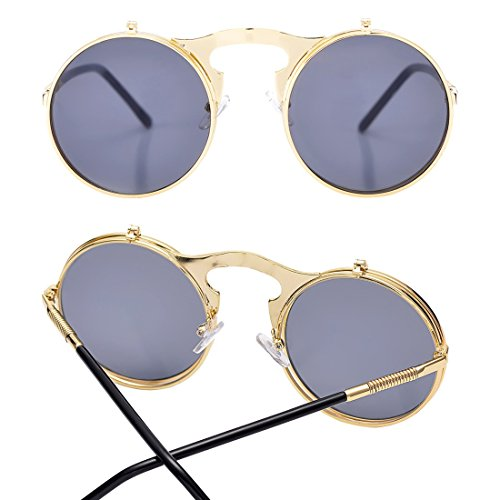 0cde276c23 COASION Vintage Round Flip Up Sunglasses for Men Women Juniors John Lennon  Style Circle Sun Glasses