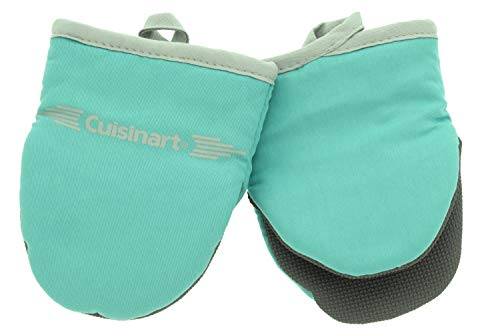 Cuisinart Neoprene Mini Oven Mitts, 2 Pack - Heat Resistant Gloves to Protect Hands & Surfaces w/ Non-Slip Grip & Hanging Loop -Ideal Set for Handling Hot Cookware/Bakeware Items - Blue Turquoise - Mini Oven Mitts