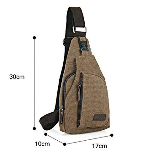 CuteMe ® Herren-kleine Leinwand Military Messenger Schultertasche Rucksack Reisen Wandern--Farbe Braun
