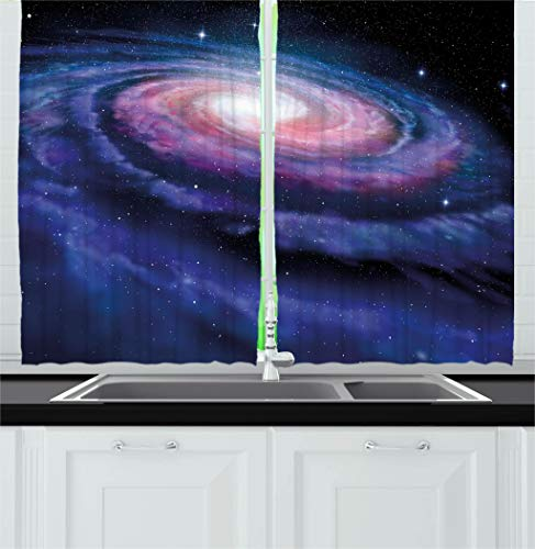 Ambesonne Modern Decor Kitchen Curtains, Spiral Galaxy Andromeda Milky Way Cosmic Dust Infinity Glow Mystery Art, Window Drapes 2 Panels Set for Kitchen Cafe, 55W X 39L Inches, Dark Blue Purple