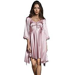 Sunbaby Women Sexy Silk Satin Robe Camisole Pajama Dress Two Piece Suit Sleepwear M Pink