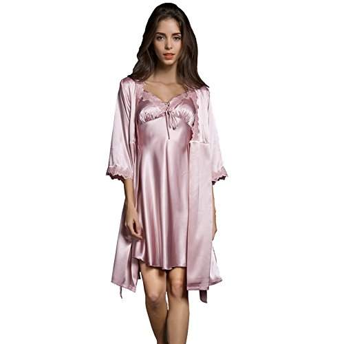 SUNBABY Women Sexy Silk Satin Robe Camisole Pajama Dress Two Piece Suit Sleepwear (M, Pink) ()