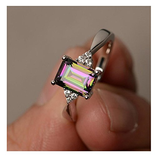 Diamond Rings, Balakie Woman Silver Ring Princess Cut Mystic Rainbow Engagement Jewelry (Silver, 9)