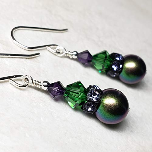 Sterling Silver Earrings Made with Swarovski® Simulated Pearls and Crystals- Scarabaeus Green, Tanzanite Color, Dark Moss Green, and Velvet -