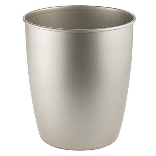 MDesign Metal Wastebasket Trash Can For Bathroom, Office, Kitchen   Satin