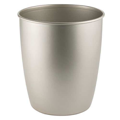 Nickel Trash Can (mDesign Round Metal Small Trash Can Wastebasket, Garbage Container Bin for Bathrooms, Powder Rooms, Kitchens, Home Offices - Durable Steel with Satin Finish)