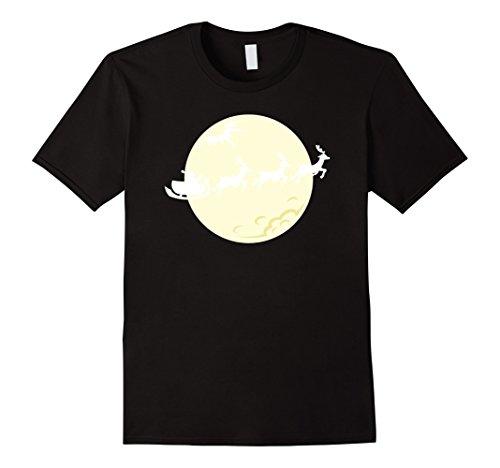 Men In Black Diy Costume (Mens Santa Christmas Costume DIY Shirt with Reindeers and a Moon Small Black)