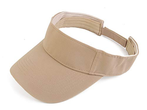 Khaki Womens Visor - Melesh Plain Men Women Sport Headband Sun Visor Adjustable Athletic Sportswear Runing Outdoor Hat Cap (Khaki)