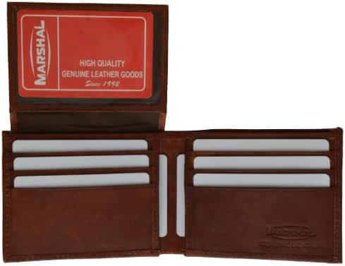 Mens Leather Wallet Flip up Id Window with Credit Card Slots by Marshal
