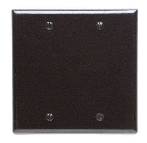 Leviton 85025 2-Gang No Device Blank Wallplate, Standard Size, Thermoset, Box Mount, Brown