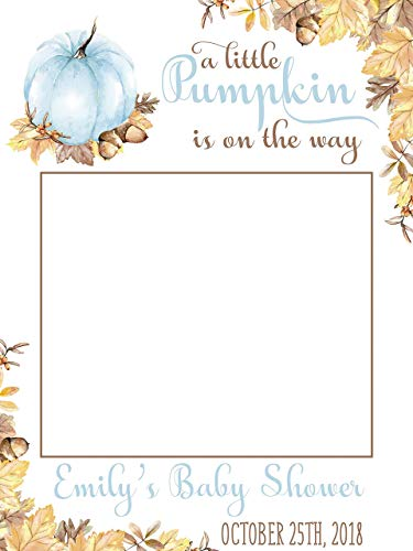 Fall Rusty Leaves Baby Shower Selfie Autumn Season Blue Pumpkins Frame Photo Booth Props Halloween Signs Colorful Leaves Size 24x36, 48x36 Handmade DIY Party Supply -