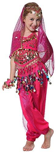 Seawhisper Costume de Danse du Ventre Carnaval Paillettes Licou Top, Sarouel Harem Pantalon, Costume d'Halloween, Fille