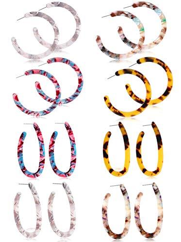 LOYALLOOK 8Pairs Acrylic Earrings Resin Earrings For Women Teen Girls Boho Earrings Statement Drop Dangle Earrings