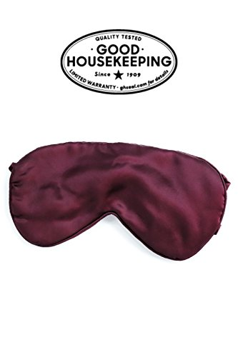 Fishers Finery 25mm 100% Mulberry Silk Sleep Mask Travel Adjustable Strap Wine