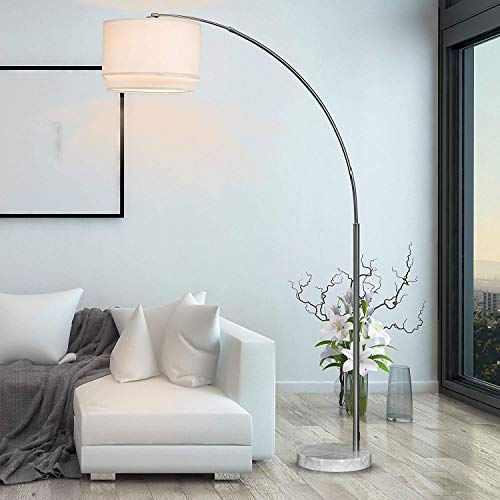 """Major-Q SH-6938WH Brush Steel Arching Floor Lamp with White Real Marble Base - Features Large White Double Drum Style Shade - 81"""" Tall Fits in Living or Bedrooms - White, extra large"""