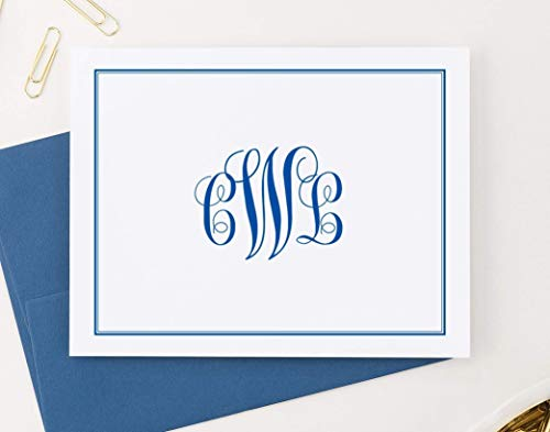 (Classic Monogram Stationary Set FOLDED NOTE CARDS, Personalized Stationary Set, Personalized Monogram Stationery Set, Your Choice of Colors and Quantity)