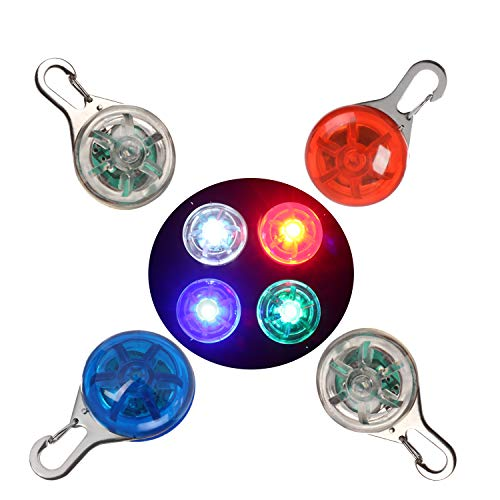 NONMON Dog Collar Light Clip-on Pet Safety Lights, LED Dog Tag Light for Night Walk Cycle Run - Bright Flashing Visibility Light 4 Pack ()