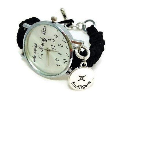 Black zodiacal sign Gemini women's watch Horoscope bracelet Zodiac Jewelry Who cares I'm late face