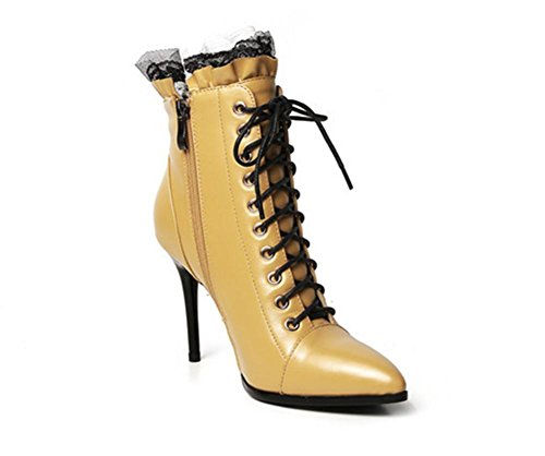 NVXIE Women Ladies Ankle Boots Stiletto Heel Lace Up Leather Martin Black Fall Winter Party Work YELLOW-EUR38UK55 mUzLVt