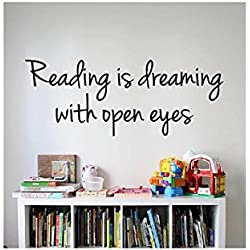 Reading Quote Sign Vinyl Decal Sticker --- Reading is dreaming with open eyes -wall lettering dr seuss kids read reading learn books (Black, 16 inch wide x 6 inch tall)