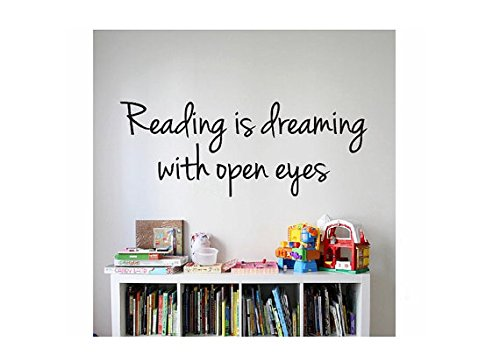 Reading Quote Sign Vinyl Decal Sticker --- Reading is dreaming with open eyes -wall lettering dr seuss kids read reading learn books (Black, 30 inch wide x 11.5 inch (Dr Seuss Signs)