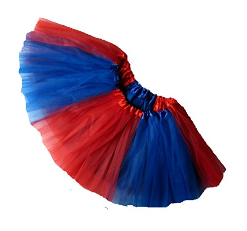 [Southern Wrag Company ADULT TEAM SPIRIT Tutu RED ROYAL BLUE Sizes S-XXL (L:TUTU WAIST 30-56)] (Quaker Costumes)