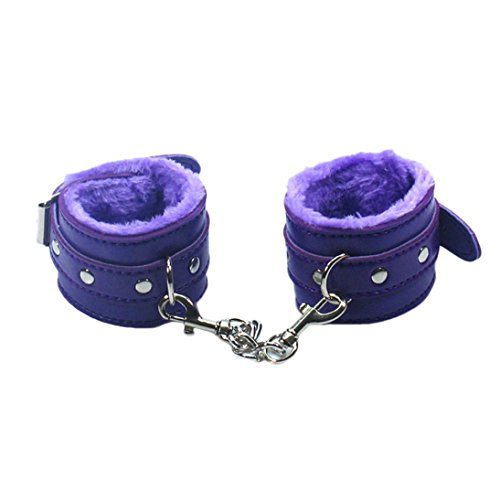 Hometom Adjustable Restraints Toy Plush PU Leather Slave Wrist & Ankle Handcuffs Hand Restraints Toys (Purple)