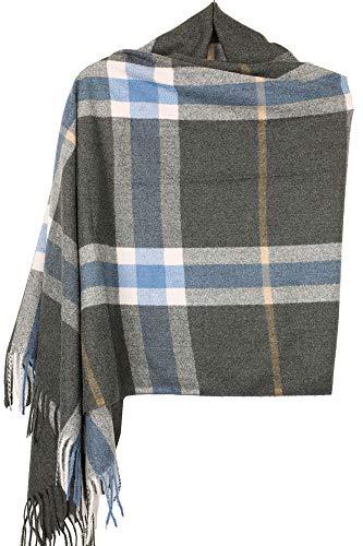 - Achillea Classic Giant Check Plaid Cashmere Feel Scarf Winter Warm Shawl Wrap (Oblong Charcoal Grey Plaid)