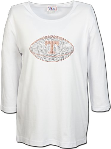 Nitro USA NCAA Tennessee Volunteers Women's Crew Neck 3/4 Sleeve Top with Rhinestone Power Football, 2X, White