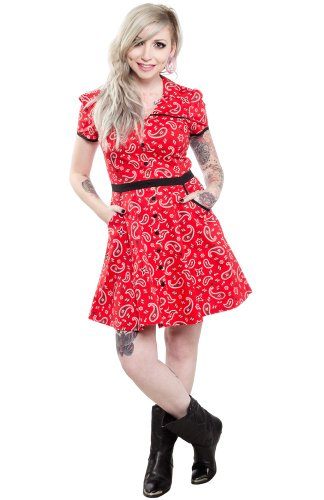 Sourpuss Clothing Hellbilly Dress Red M