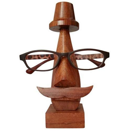 Wooden Eyewear Holder, Spectacle Holder for Men & Women, Spec Holder, Wooden Eyeglass Stand, Eyewear Retainer, Sunglasses Holder, 6.5 Inch, Brown Color, Easter Day/Mother Day/Good Friday -