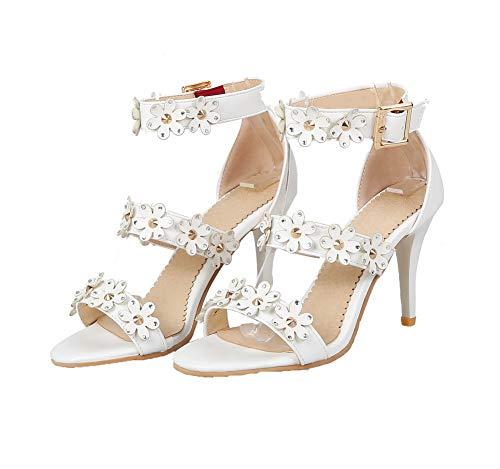Femme AgooLar d'orteil Stylet Sandales Boucle GMBLB013573 Blanc Ouverture fvWdzvq