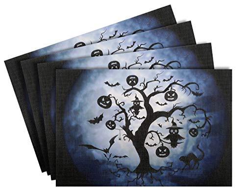Nuovoware Halloween Placemats, [4 Pack] 30 x 45 cm Premium Exquisite Crossweave Stain Resistant Heat-Resistant Non-Slip Textilene Woven Plaid Dining Mat Pads Place Mats, Tree & Moon ()