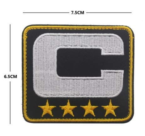 Black Captain C Patch 4 Gold Stars Jersey Football Baseball Soccer Hockey Military Patch Fabric Embroidered Badges Patch Tactical Stickers for Clothes with Hook & ()