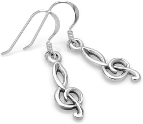 925 Sterling Silver Treble G Clef Musician Dangle Hook Earrings