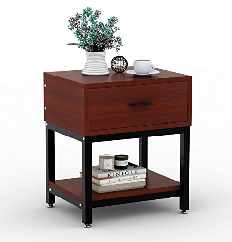 End Table, LITTLE TREE Chair Side Table Night Stand with Drawer for Bed Room Living Room, Beside Table with Storage, Metal Frame & Wood, Cherry by LITTLE TREE