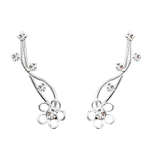 EleQueen 925 Sterling Silver Full Cubic Zirconia Flower Ear Crawlers Sweep Cuff Hook Earrings 1 Pair by EleQueen