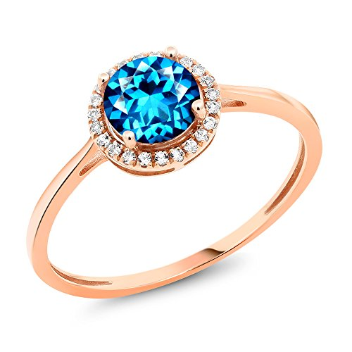 10K Rose Gold Diamond Ring Set with Kashmir Blue Topaz from Swarvoski (Size 6)