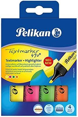Pelikan 814058 490 - Rotuladores fluorescentes (4 unidades, en estuche), colores surtidos: Amazon.es: Oficina y papelería