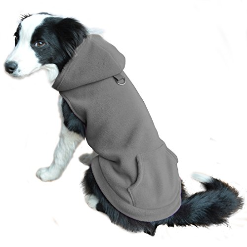 EXPAWLORER Fleece Dog Hoodies with Pocket, Cold Weather Spring Vest Sweatshirt with O-Ring, Grey M