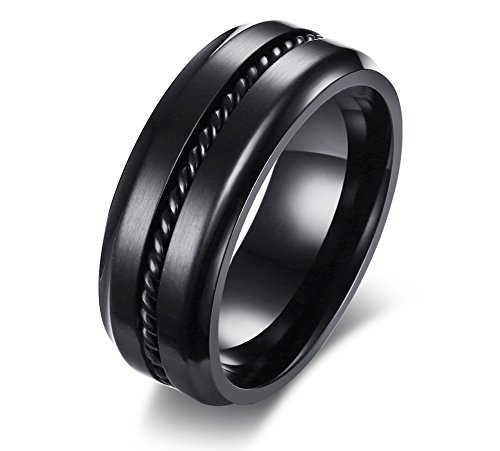 Edge Engagement Ring Setting - Black Stainless Steel Cool Plain Twisted Wire Settings Step Edge Wedding Promise Engagement Rings bands for Men,size 10