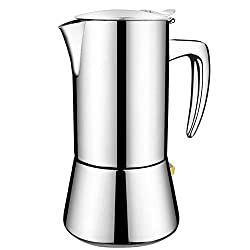 200ML Stainless Steel Coffee Pot Coffee Maker Espresso Maker Teapot Stovetop Funnel Filter Cafetiere Coffee Pot Cafe Maker(Silver)