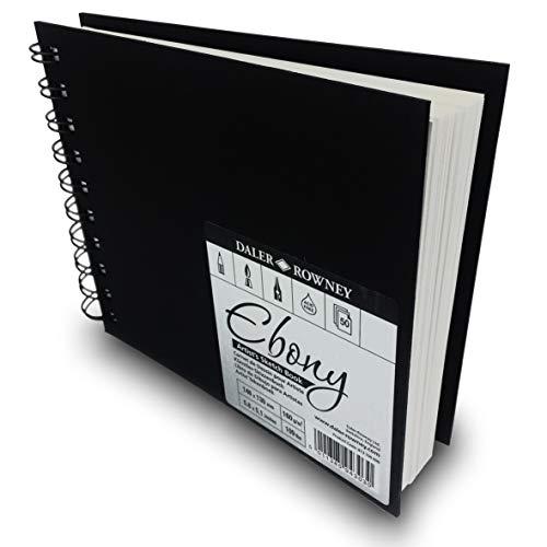 - Daler Rowney - Ebony Artist's Hardback Sketch Book - 160gsm - 50 Wire Bound Pages - 148 x 130mm Landscape