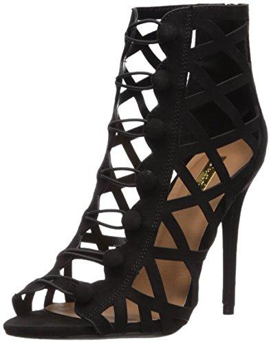 Qupid Women's Ara-388 Heeled Sandal, Black, 7.5 M US
