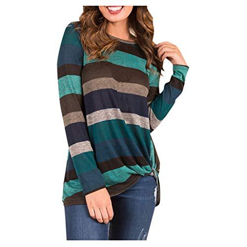 [해외]Women Blouse Long Sleeve Casual Striped Color Block Loose Fit Knot Front Tunic Tops / Women Blouse Long Sleeve Casual Striped Color Block Loose Fit Knot Front Tunic Tops (XL, Blue)