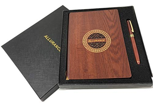 Allurance Deluxe Notebook With Classic Wooden Cover & Engraved Wooden Pen In a Beautifully Designed Box -Premium Wide-Ruled Hardcover Journal Set & Perforated Premium Thick Papers (Pecan-Walnut)