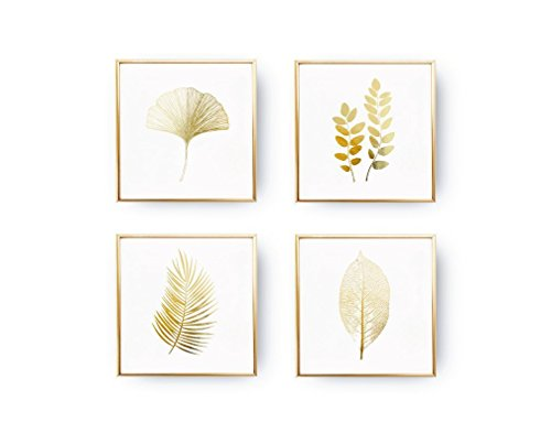 - SET of 4 Prints, Leaves Prints, Botanical Leaves, Minimalist Art, Real Gold Foil, Leaves Set, Modern Wall Print, Botanical Poster Set,